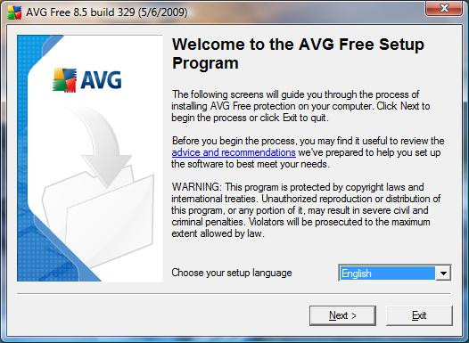 AVG Antivirus Free installation 1