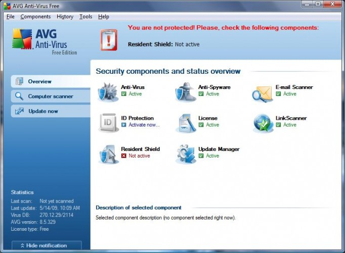 AVG Antivirus Free user interface