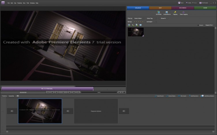 Adobe Premiere Elements 7 workspace