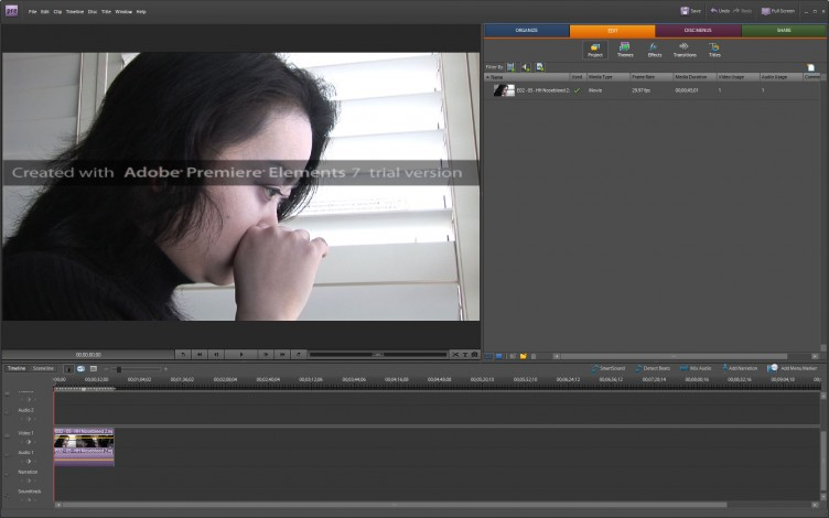 Adobe Premiere Elements 7 edit window