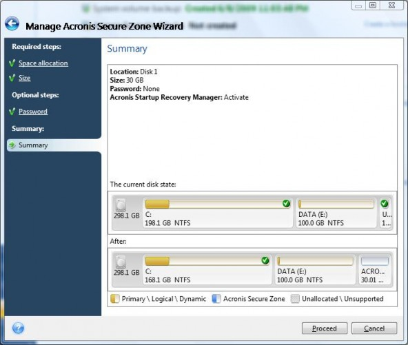 Acronis True Image Home 2009 secure zone partition summary