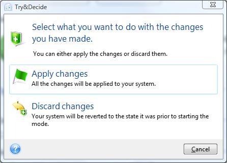 Acronis True Image Home 2009 decide on changes