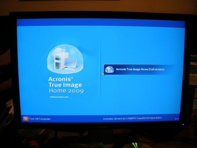 Acronis True Image Home 2009 post-recovery boot screen