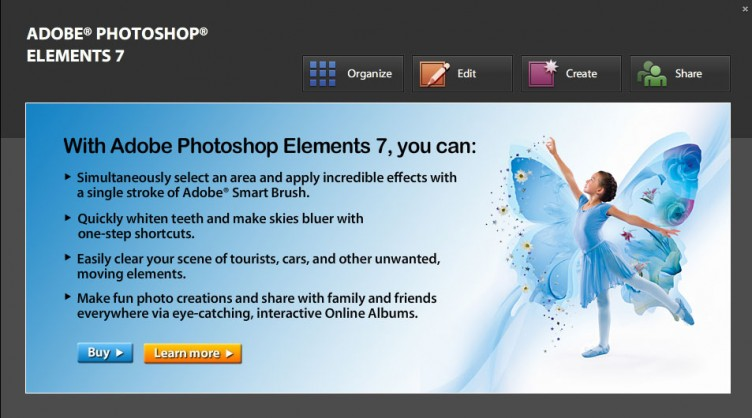 Adobe Photoshop Elements 7 first open screen