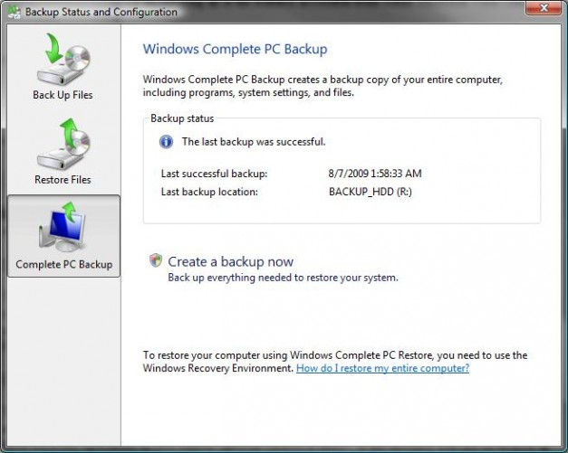 Windows Vista Backup & Restore Center backups status tab