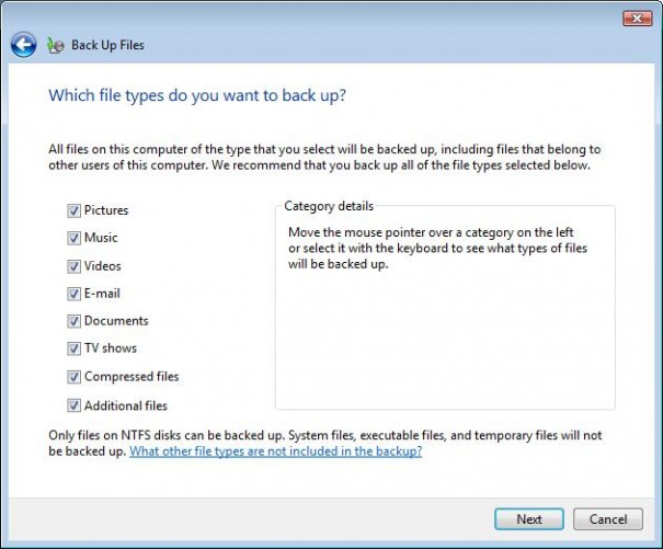 Windows Vista Backup & Restore Center file type selection