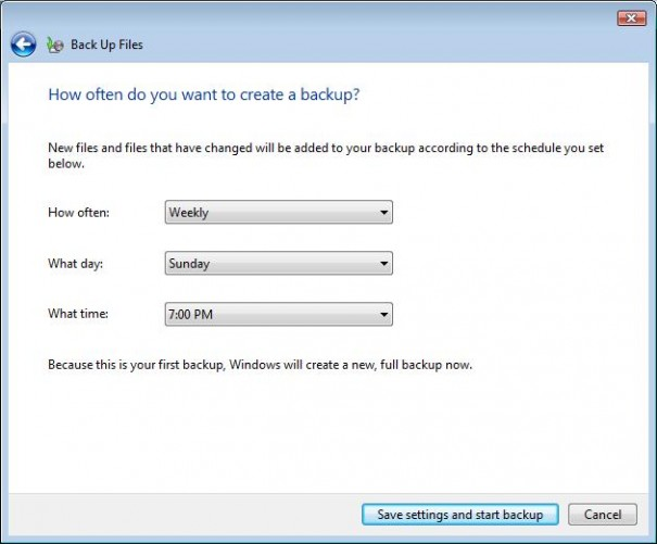 Windows Vista Backup & Restore Center scheduler