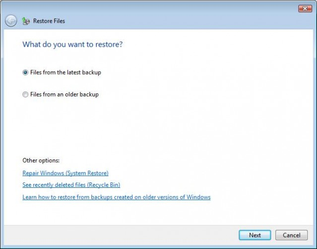 Windows Vista Backup & Restore Center recovery wizard