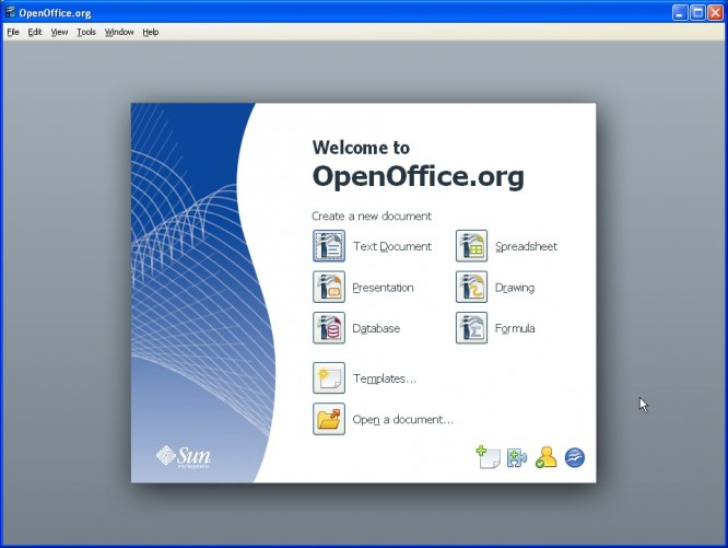 OpenOffice 3.1 main open screen
