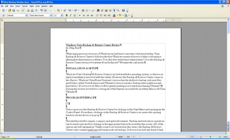 OpenOffice 3.1 Write main screen