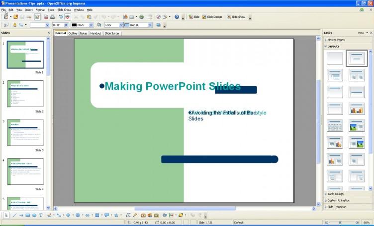 OpenOffice 3.1 Impress converted PowerPoint deck