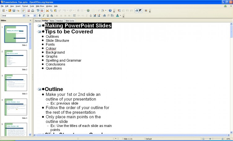 OpenOffice 3.1 Impress outline view