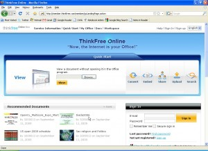 ThinkFree Office Online Beta mainpage