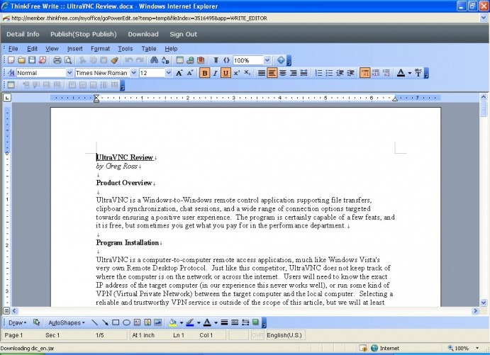 ThinkFree Office Online Beta Write edit page