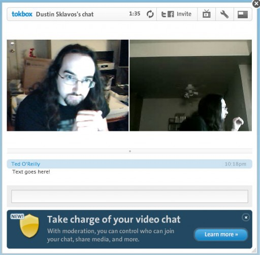 Tokbox video chat