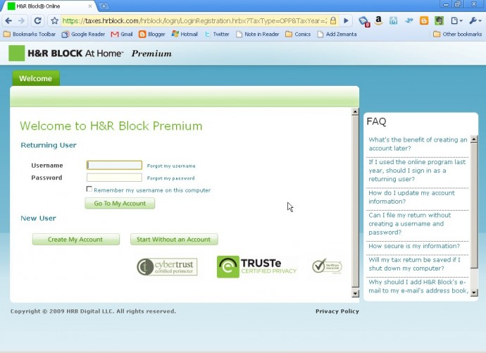 H&R Block At Home Online Premium create account