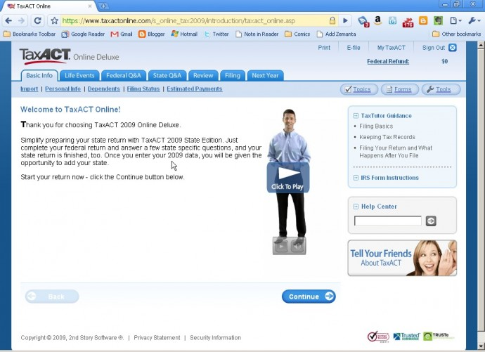 TaxAct online video assistant