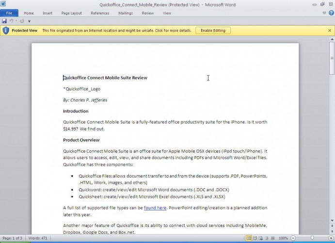 Microsoft Word 2010 Protected View