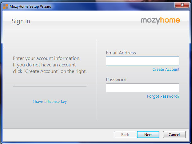 Mozy 2.0 account signup page