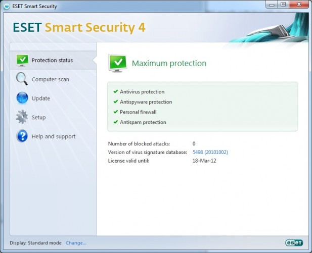 ESET Smart Security 4 Basic Interface