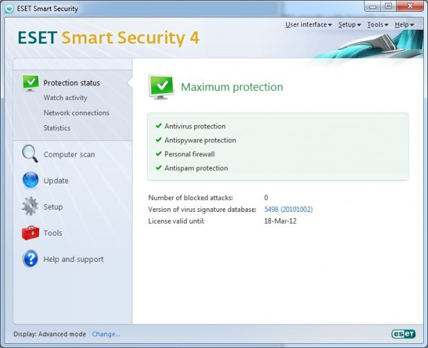 ESET Smart Security 4 Advanced Interface