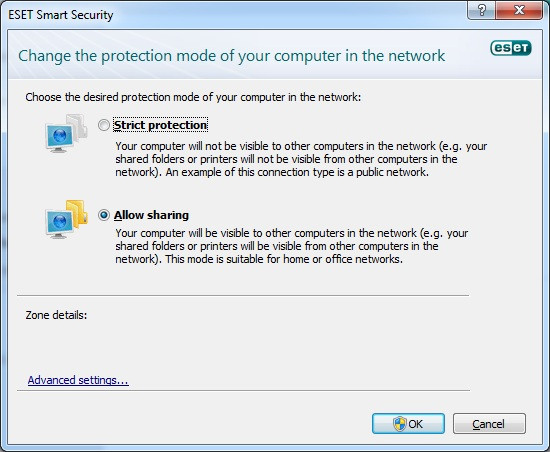 ESET Smart Security 4 network settings