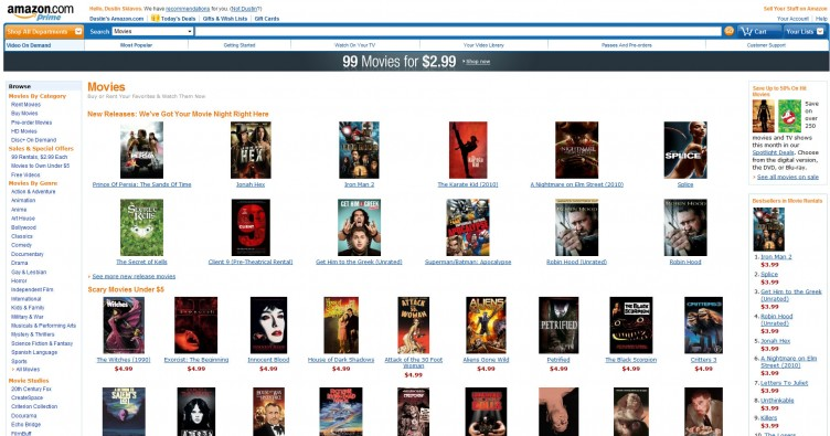 New releases in Amazon Video On Demand