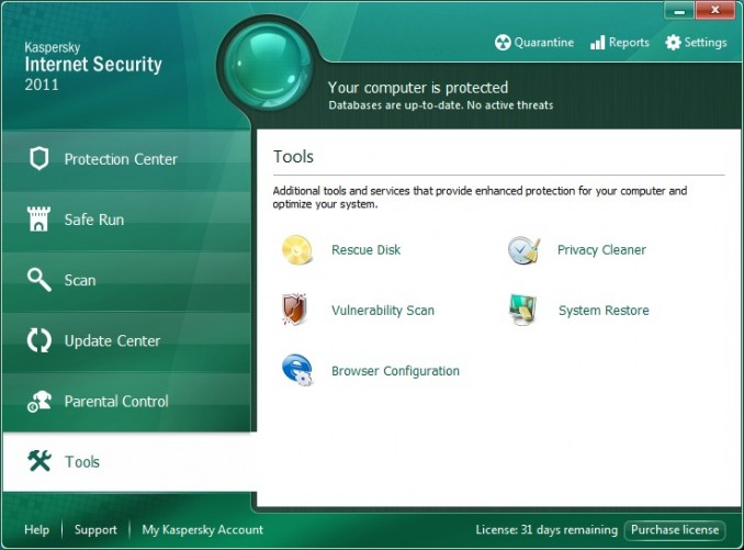 Tools in Kaspersky Internet Security 2011