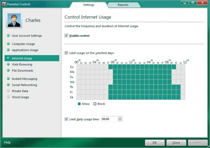 Parental controls in Kaspersky Internet Security 2011