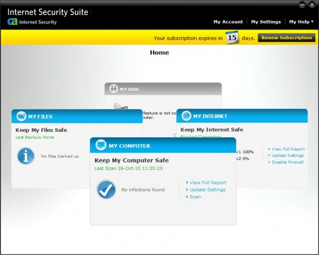 Main interface in CA Internet Security Suite Plus 2011