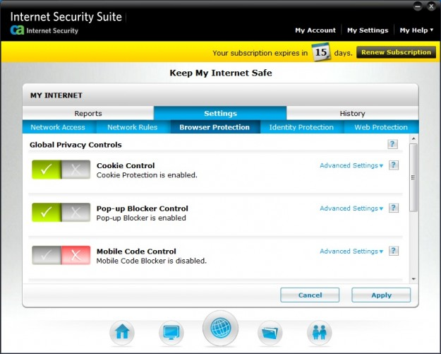 Settings in CA Internet Security Suite Plus 2011
