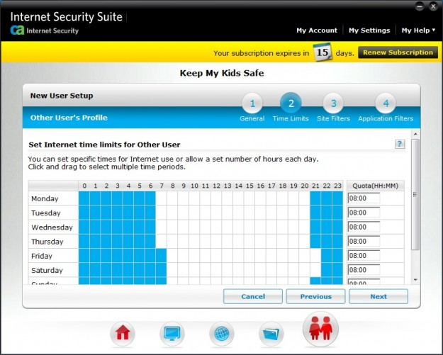 Parental controls in CA Internet Security Suite Plus 2011