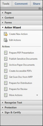 Right column tool bar in Adobe Acrobat X