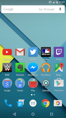 Android 5.0 Lollipop home screen