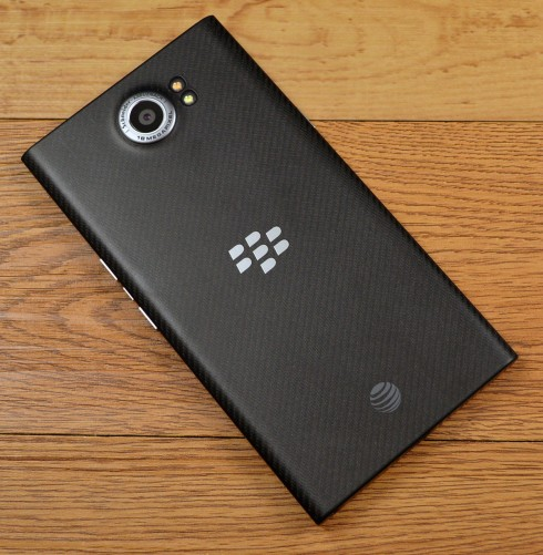 The Priv's soft-touch weave material on the back of the device provides excellent grip.