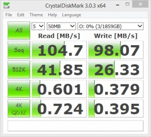 CrystalDiskMark 3.0.3 test results