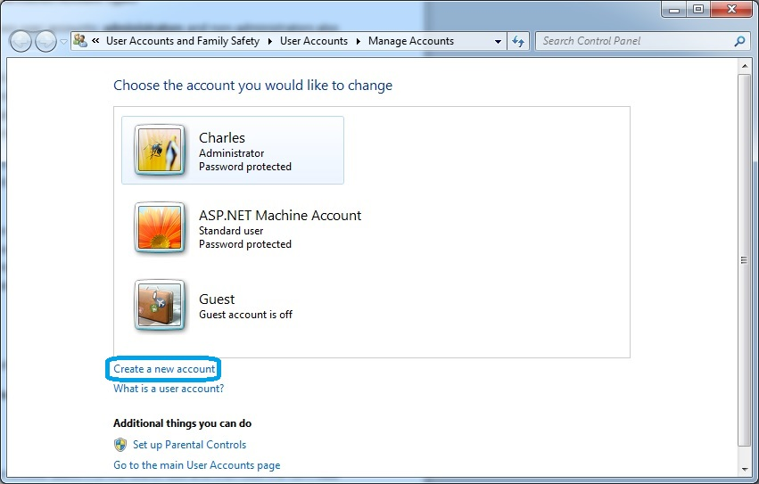 create administrator account windows 7 with standard user