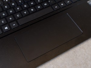 The touchpad is big and button-free.