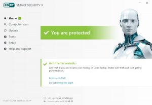The ESET interface