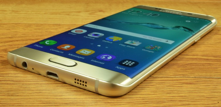 The Samsung Galaxy S6 edge+ has a speaker, microUSB 2.0, and audio jack on the bottom