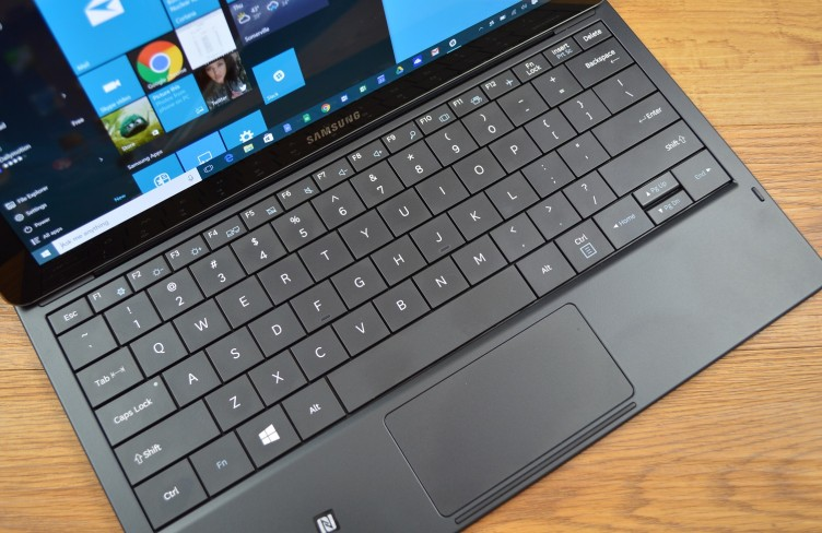 The Samsung Galaxy TabPro S keyboard has large keys, but feels cramped.