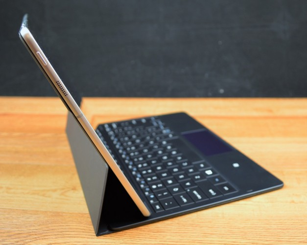The Samsung Galaxy TabPro S keyboard folio acts as a kickstand.