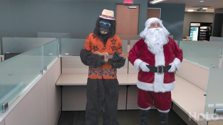 Silly Tango app with AR Gorilla and Santa Claus
