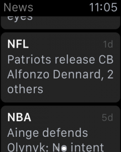 Apple Watch ESPN app headlines