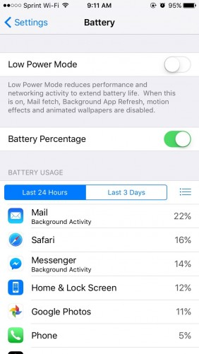 Apple has added Low Power Mode, which aims to increase the time between charges by turning off background features like getting email, app refreshes, and other automatic downloads.