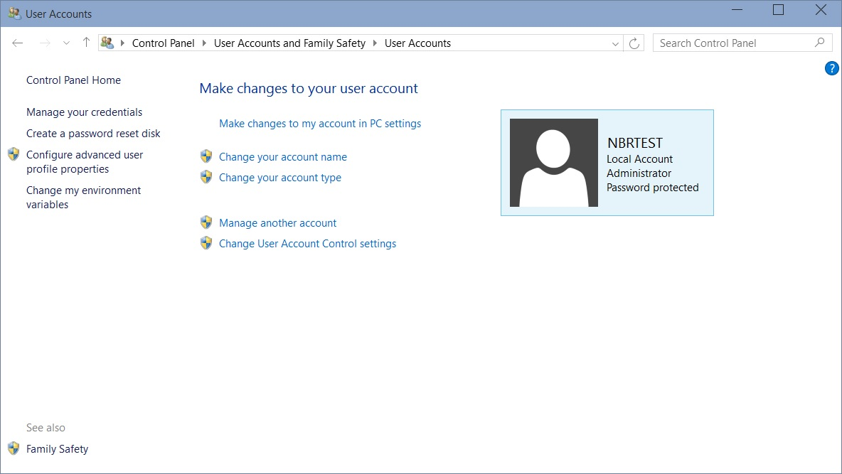change a password windows 10