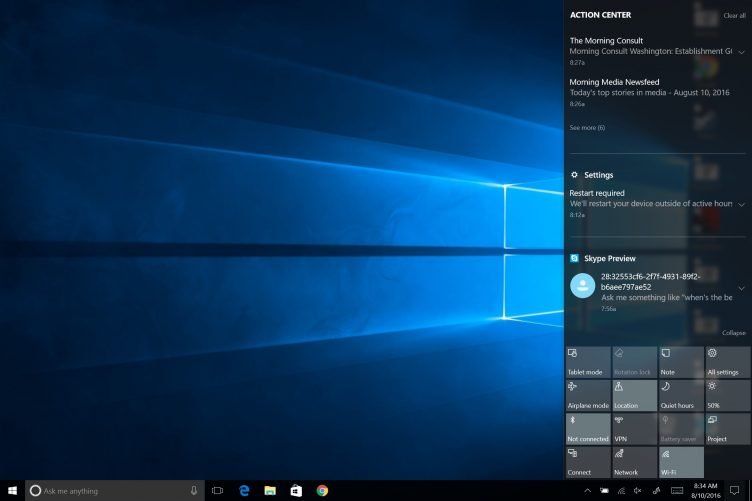New Windows 10 Action Center