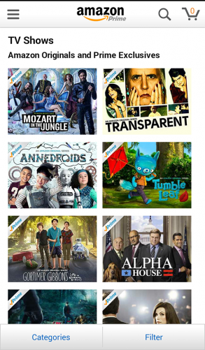 Amazon Prime Instant Video on mobile