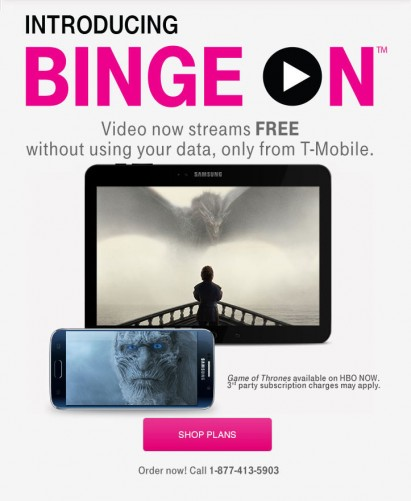 T-Mobile Binge On allows users to stream various video services without a data cap hit