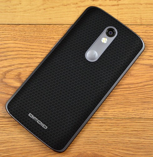 The Motorola Droid Turbo 2 has the familiar Motorola inset.